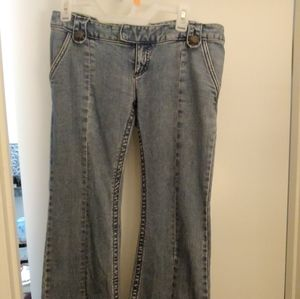 Free People Wide Leg Flared Seamed Jeans Size 28
